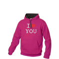 I Love Hoodie personnalisable Pink, Taille M