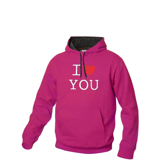 I Love Hoodie personnalisable Pink, Taille S