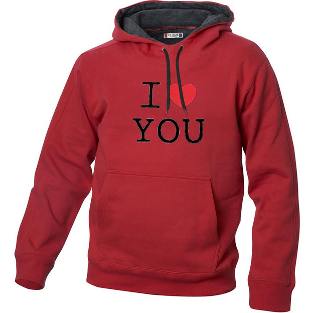 I Love Hoodie personnalisable Rouge, Taille S