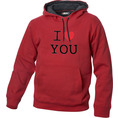 I Love Hoodie personnalisable Rouge, Taille XL