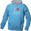 I Love Hoodie personnalisable Blue ciel, Taille S