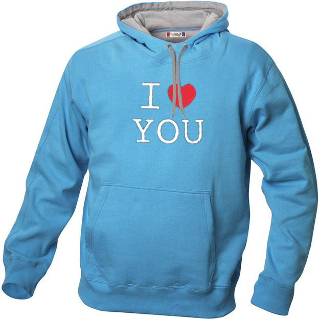 I Love Hoodie personnalisable Blue ciel, Taille XL