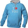 I Love Hoodie Hellblau, Grösse XL
