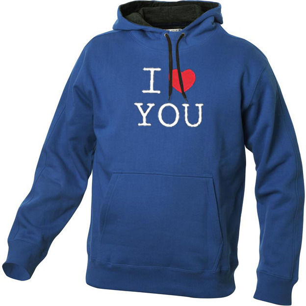 I Love Hoodie personnalisable Bleu, Taille XL