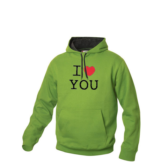 I Love Hoodie personnalisable Vert clair, Taille XL
