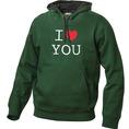 I Love Hoodie personnalisable Vert foncé, Taille L