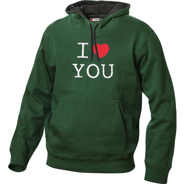 I Love Hoodie personnalisable Vert foncé, Taille XXL