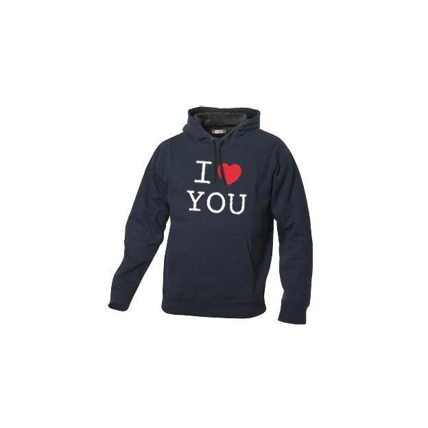 I Love Hoodie personnalisable Bleu foncé, Taille XL