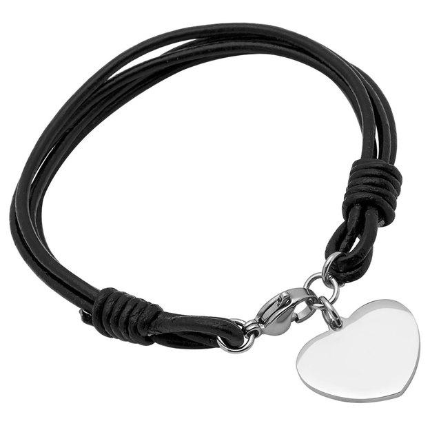 Bracelet cuir pendentif coeur personnalisable