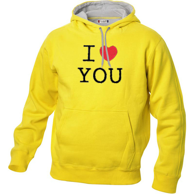 I Love Hoodie personnalisable Jaune, Taille XXL