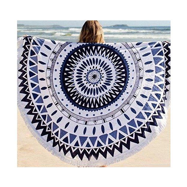 Runde Strandtücher im Mandala-Stil