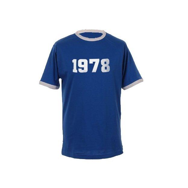 T-Shirt Date Anniversaire bleu roi/blanc, Taille XL