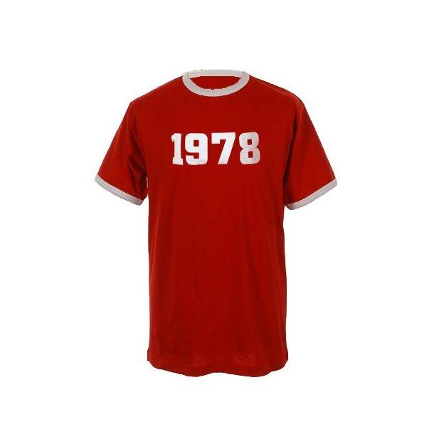 T-Shirt Date Anniversaire rouge/blanc, Taille L