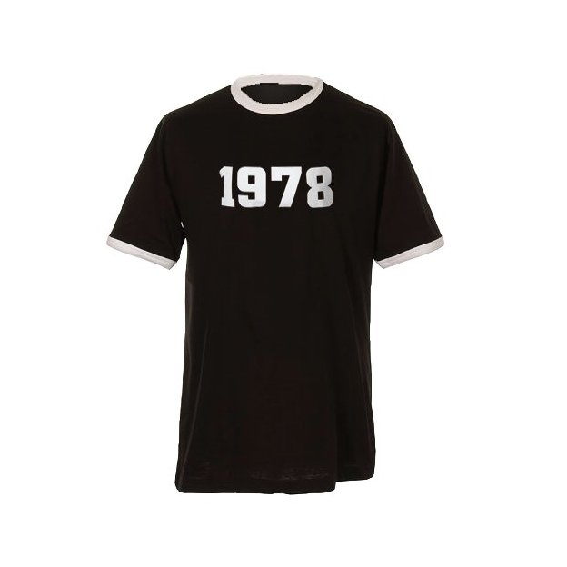 T-Shirt Date Anniversaire noir/blanc, Taille XXL