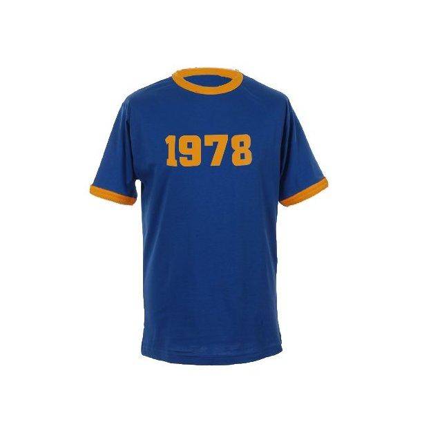 T-Shirt Date Anniversaire bleu royal/jaune, Taille M