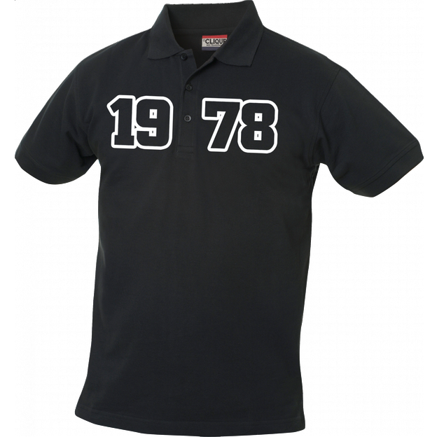 Polo Anniversaire noir homme grand chiffres, Taille S