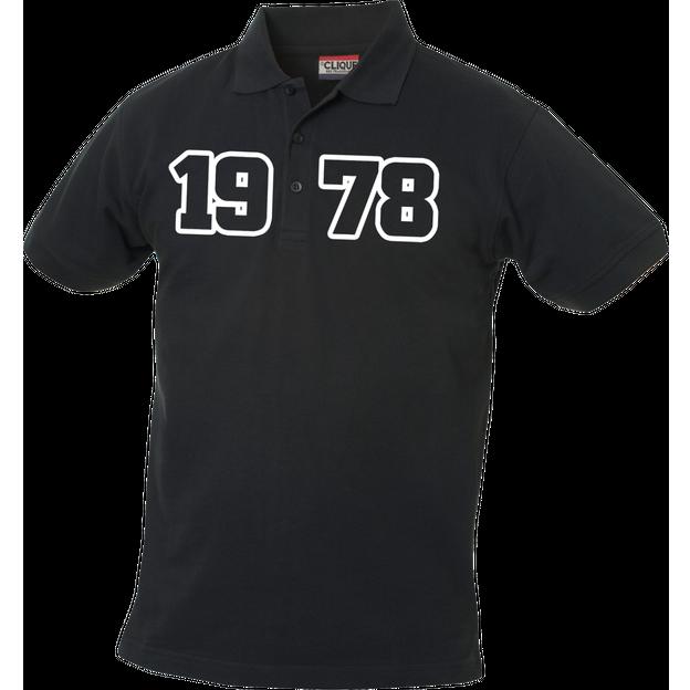 Jahrgangs-Polo für Herren schwarz grosse Zahlen, Grösse S