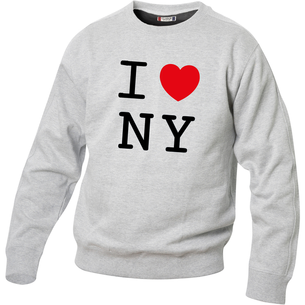 Pullover personnalisable I Love gris claire, Taille S