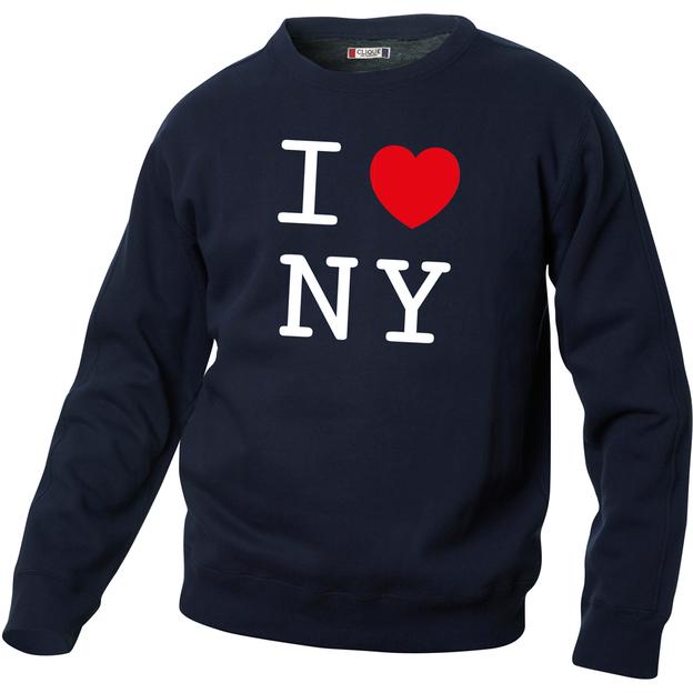 Pullover personnalisable I Love bleu foncé, Taille S