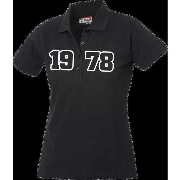 Jahrgangs-Polo für Frauen schwarz grosse Zahlen, Grösse M