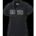 Jahrgangs-Polo für Frauen schwarz grosse Zahlen, Grösse L