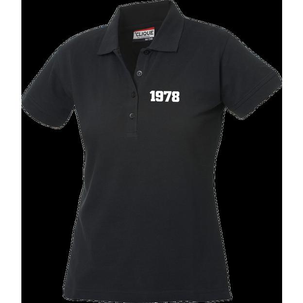 Jahrgangs-Polo für Frauen schwarz kleine Zahlen, Grösse M
