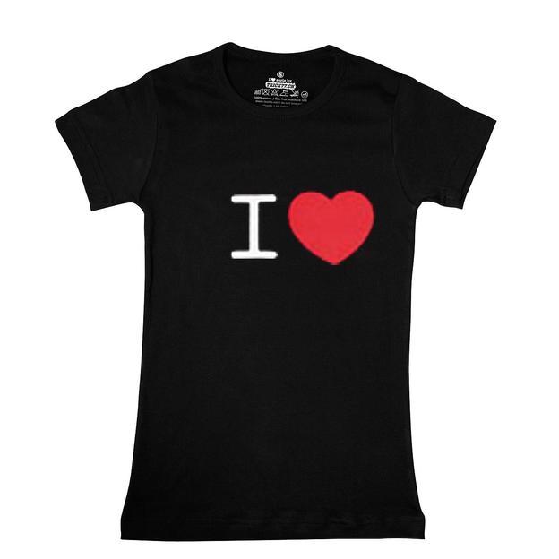 I Love T-Shirt Frauen Schwarz, Grösse L