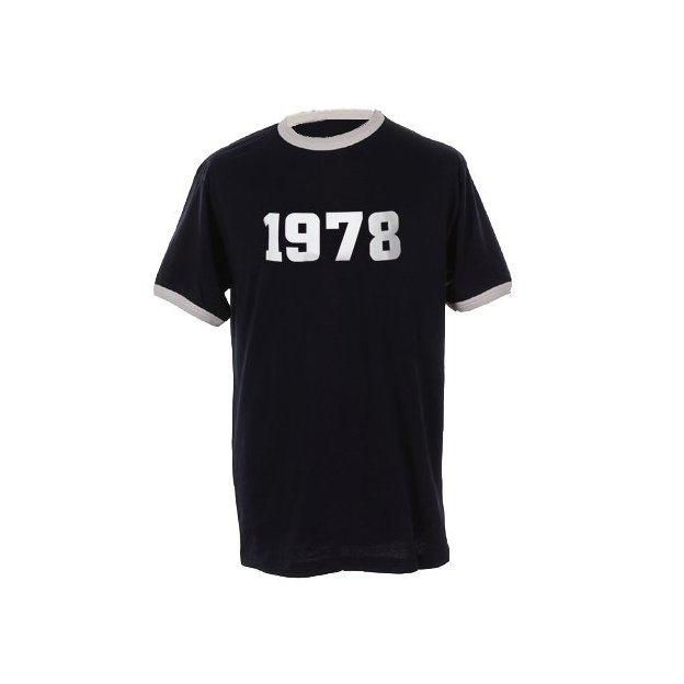 T-Shirt Date Anniversaire bleu marine/blanc, Taille L