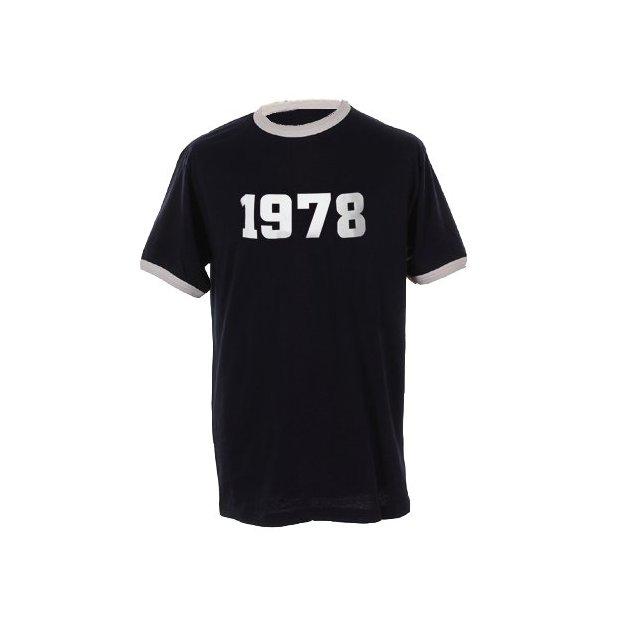 T-Shirt Date Anniversaire bleu marine/blanc, Taille S