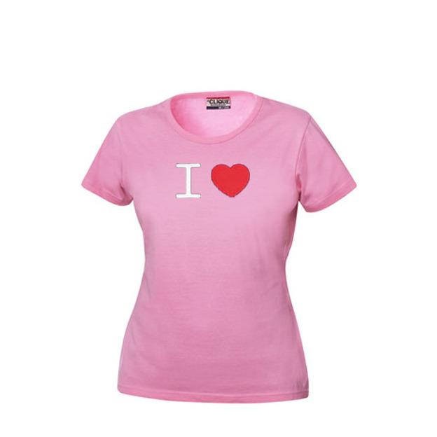 I Love T-Shirt Frauen Pink, Grösse M