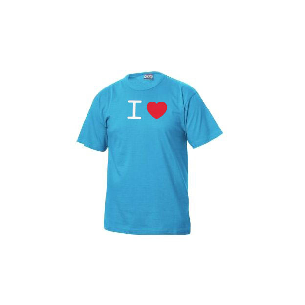 I Love T-Shirt Männer Hellblau, Grösse XL