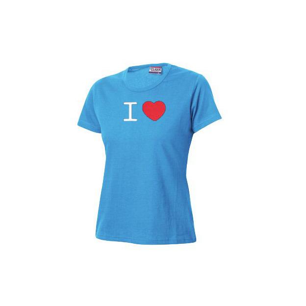 I Love T-Shirt Frauen Hellblau, Grösse M