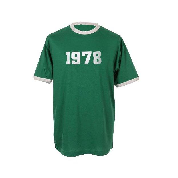 T-Shirt Date Anniversaire vert/blanc, Taille M