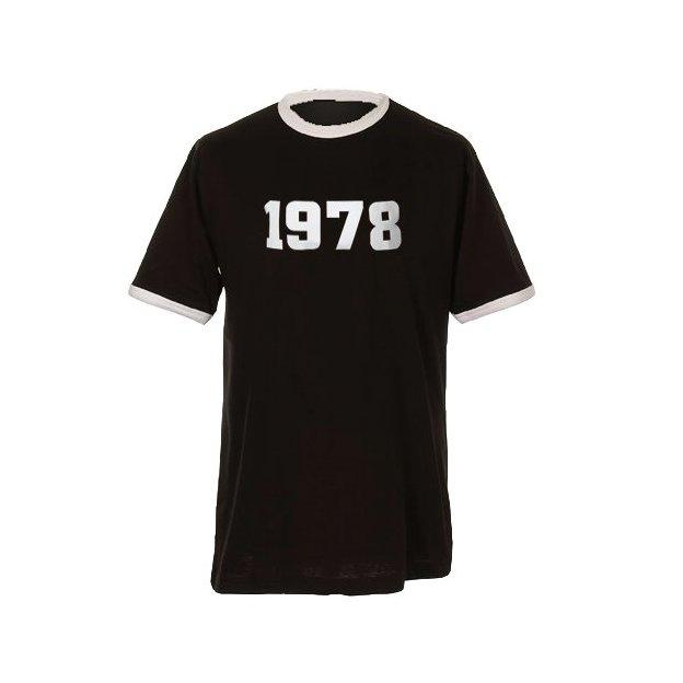 T-Shirt Date Anniversaire noir/blanc, Taille L