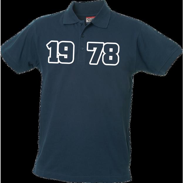 Polo Anniversaire bleu marine homme grands chiffres, Taille XL