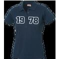 Polo Anniversaire bleu marine femme grands chiffres, Taille S