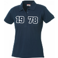 Polo Anniversaire bleu marine femme grands chiffres, Taille M