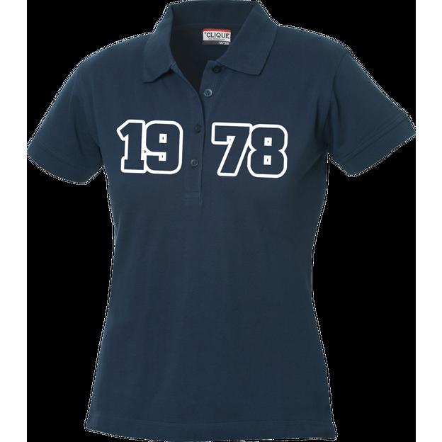 Jahrgangs-Polo für Frauen navyblau grosse Zahlen, Grösse XL