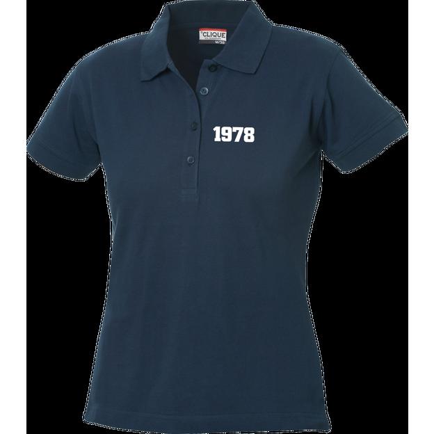 Polo Anniversaire bleu marine femme petits chiffres, Taille XL
