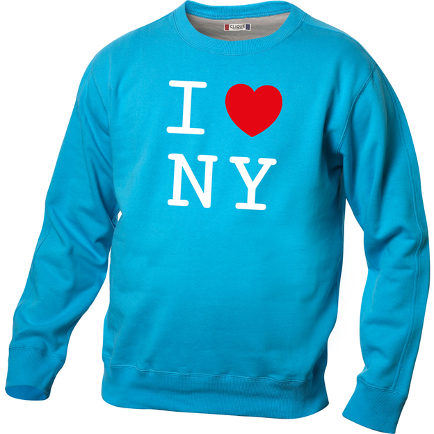 Pullover personnalisable I Love bleu clair, Taille S