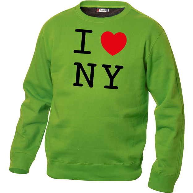 Pullover personnalisable I Love vert clair, Taille XL