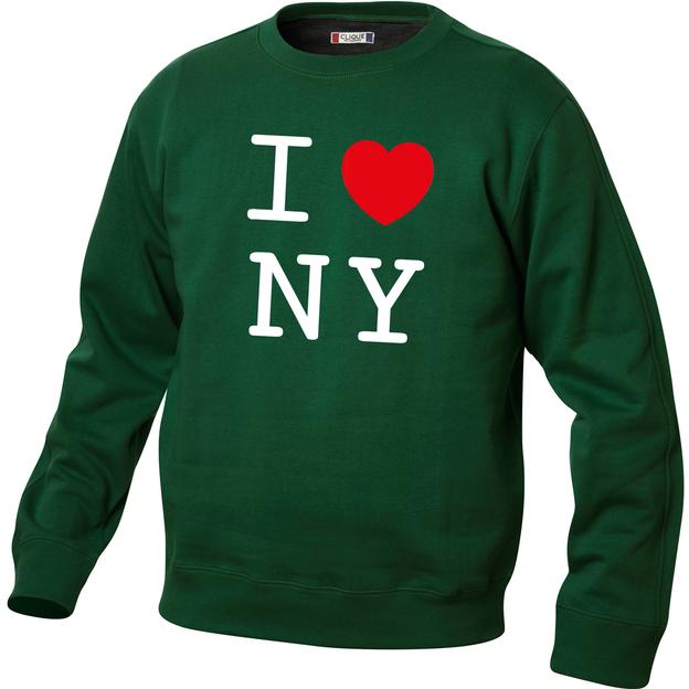 Pullover personnalisable I Love vert foncé, Taille L