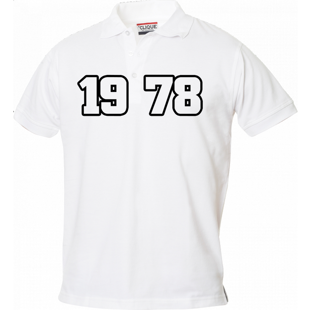 Polo Anniversaire blanc homme grand chiffres, Taille S