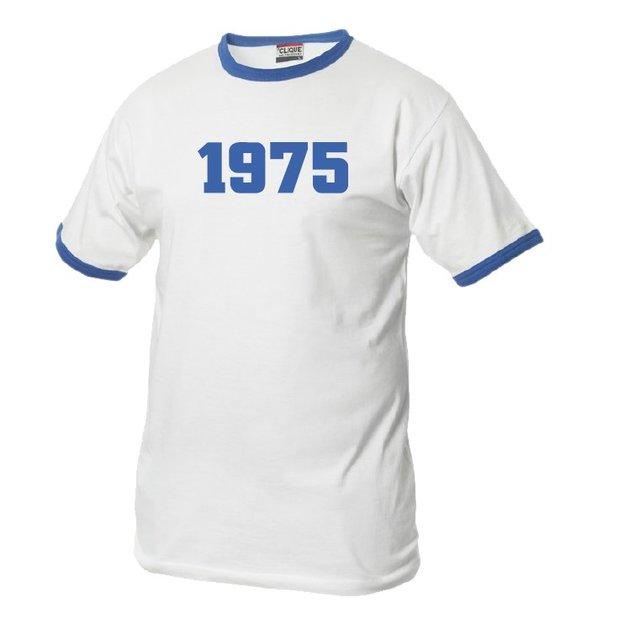 T-Shirt Date Anniversaire blanc/bleu, Taille L