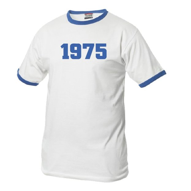 T-Shirt Date Anniversaire blanc/bleu, Taille S