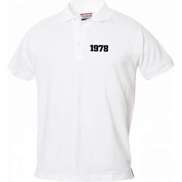 Polo Anniversaire blanc homme petits chiffres, Taille XL