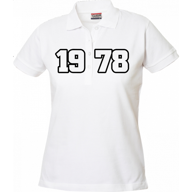 Polo Anniversaire blanc femme grands chiffres, Taille S