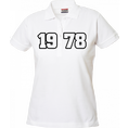 Polo Anniversaire blanc femme grands chiffres, Taille XL