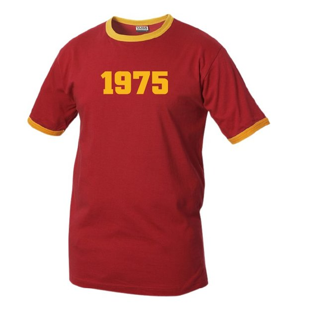 T-Shirt Date Anniversaire rouge/jaune, Taille L