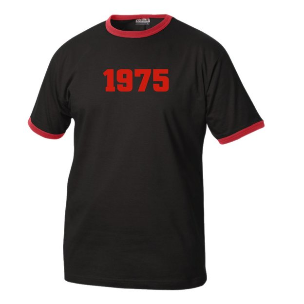 T-Shirt Date Anniversaire noir/rouge, Taille M